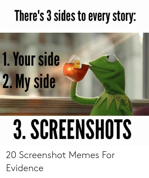 Memes, Screenshots, and Evidence: There's 3 sides to every story  1. Your side  2.My side  3. SCREENSHOTS 20 Screenshot Memes For Evidence