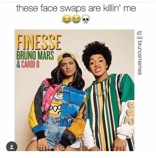 swaps: these face swaps are kilin' me  FINESSE  BRUNO MARS  &CARDI B
