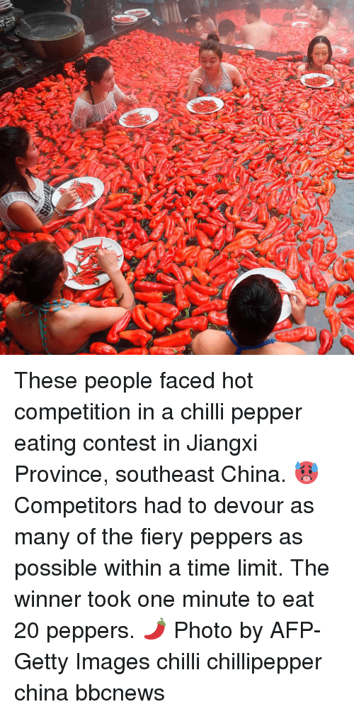 Memes, China, and Getty Images: These people faced hot competition in a chilli pepper eating contest in Jiangxi Province, southeast China. 🥵 Competitors had to devour as many of the fiery peppers as possible within a time limit. The winner took one minute to eat 20 peppers. 🌶 Photo by AFP-Getty Images chilli chillipepper china bbcnews