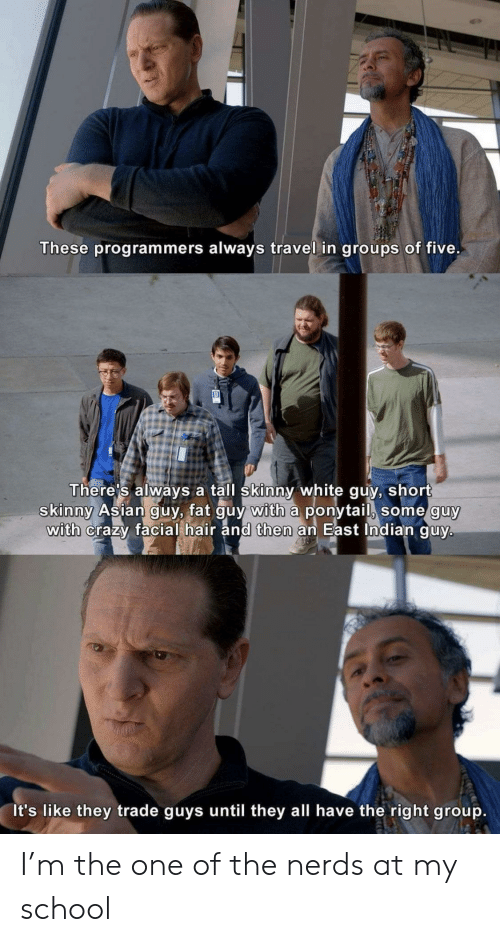 Skinny: These programmers always travel in groups of five.  There's always a tall skinny white guy, short  skinny Asian guy, fat guy with a ponytail, some guy  with crazy facial hair and then an East Indian guy.  It's like they trade guys until they all have the right group. I'm the one of the nerds at my school