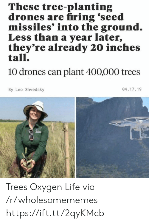 leo: These tree-planting  drones are firing 'seed  missiles' into the ground.  Less than a year later,  they're already 20 inches  tall.  10 drones can plant 400,000 trees  04.17.19  By Leo Shvedsky Trees Oxygen Life via /r/wholesomememes https://ift.tt/2qyKMcb