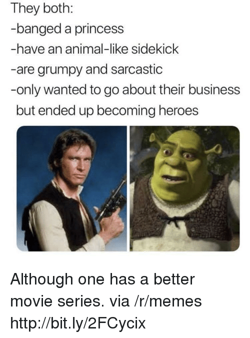 Memes, Animal, and Business: They both:  banged a princess  -have an animal-like sidekick  -are grumpy and sarcastic  -only wanted to go about their business  but ended up becoming heroes Although one has a better movie series. via /r/memes http://bit.ly/2FCycix