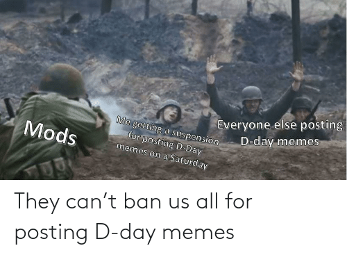 all: They can't ban us all for posting D-day memes