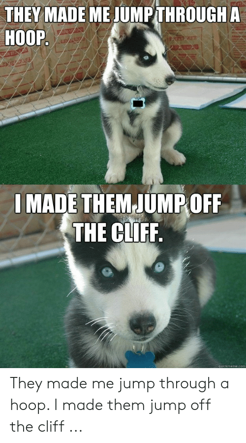 Jumping Off A Cliff Meme: THEY MADE ME JUMPTHROUGH A  HOOP  I MADE THEMJUMPOFF  THE CLIFF.  quickmeme.com They made me jump through a hoop. I made them jump off the cliff ...