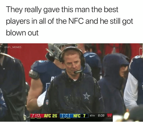 Memes, Nfl, and Best: They really gave this man the best  players in all of the NFC and he still got  blown out  @NFL MEMES  AFC 2 TaNFC 7 4TH 6:08 22