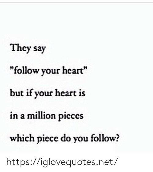 "follow: They say  ""follow your heart""  but if your heart is  in a million pieces  which piece do you follow? https://iglovequotes.net/"