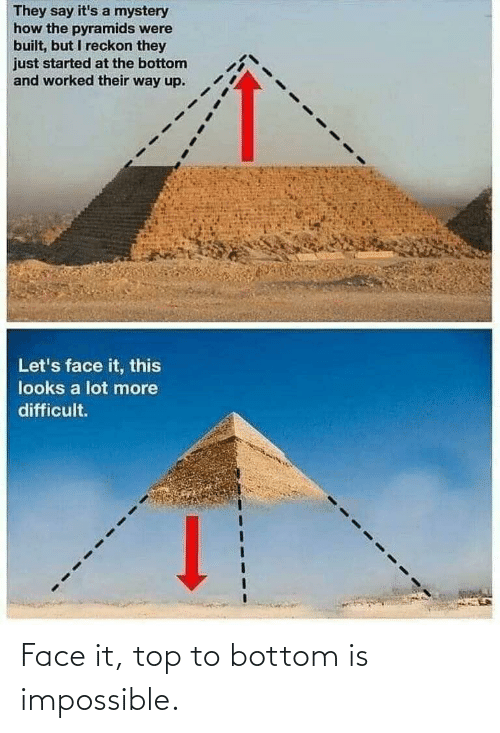 They Say: They say it's a mystery  how the pyramids were  built, but I reckon they  just started at the bottom  and worked their way up.  Let's face it, this  looks a lot more  difficult. Face it, top to bottom is impossible.