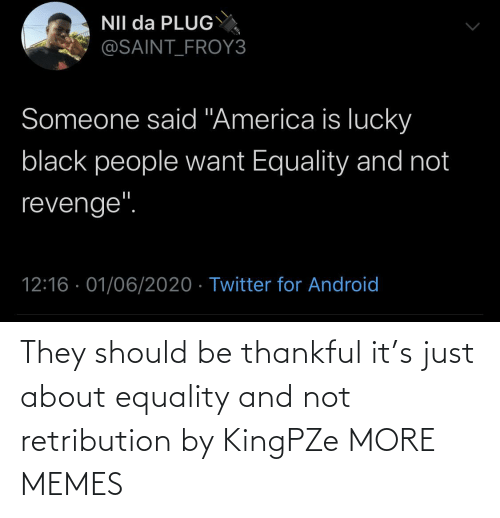 Should: They should be thankful it's just about equality and not retribution by KingPZe MORE MEMES
