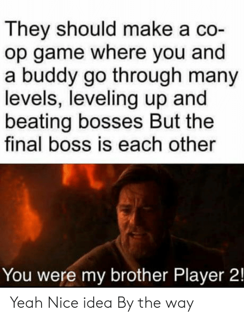 The Final Boss: They should make a co-  op game where you and  a buddy go through many  levels, leveling up and  beating bosses But the  final boss is each other  You were my brother Player 2! Yeah Nice idea By the way