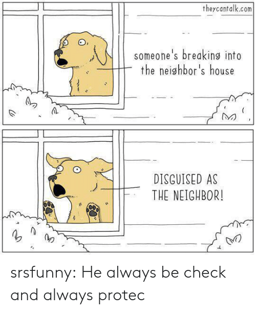 Tumblr, Blog, and House: theycantalk.com  someone's breaking into  the neighbor's house  DISGUISED AS  THE NEIGHBOR! srsfunny:  He always be check and always protec
