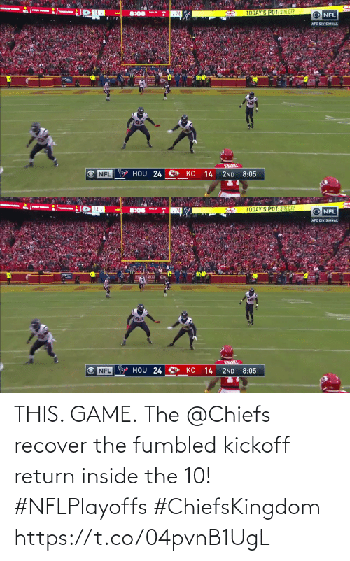 Game: THIS. GAME.  The @Chiefs recover the fumbled kickoff return inside the 10! #NFLPlayoffs #ChiefsKingdom https://t.co/04pvnB1UgL