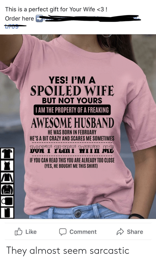 Crazy, Husband, and Wife: This is a perfect gift for Your Wife <3!  Order here  YES! I'M A  SPOILED WIFE  BUT NOT YOURS  TAM THE PROPERTY OF A FREAKING  AWESOME HUSBAND  HE WAS BORN IN FEBRUARY  HE'S A BIT CRAZY AND SCARES ME SOMETIMES  LIRT WITH ME  DON  IF YOU CAN READ THIS YOU ARE ALREADY TOO CLOSE  (YES,HE BOUGHT ME THIS SHIRT)  Like  Share  Comment They almost seem sarcastic