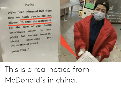 China: This is a real notice from McDonald's in china.