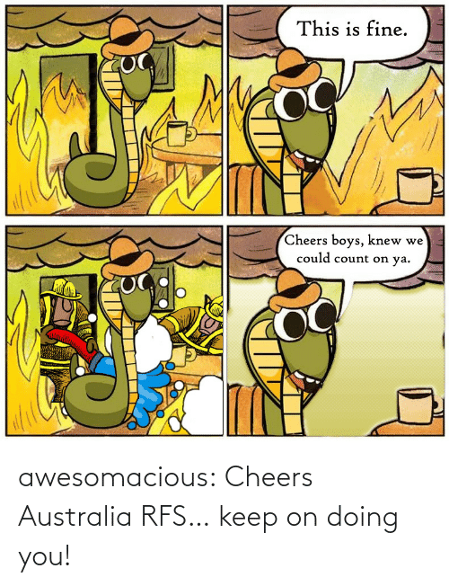 Keep: This is fine.  Cheers boys, knew we  could count on ya. awesomacious:  Cheers Australia RFS… keep on doing you!