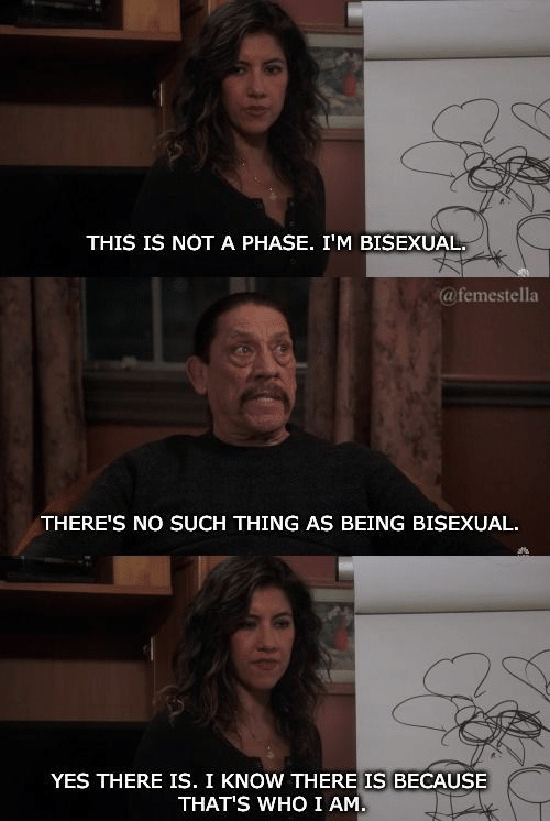 Bisexual, Yes, and Thing: THIS IS NOTA PHASE. I'M BISEXUAL  @femestella  THERE'S NO SUCH THING AS BEING BISEXUAL  YES THERE IS. I KNOW THERE IS BECAUSE  THAT'S WHOI AM.