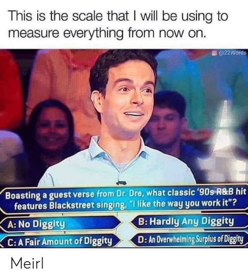 """dre: This is the scale that I will be using to  measure everything from now on.  @22Words  Boasting a guest verse from Dr. Dre, what classic '90s R&B hit  features Blackstreet singing, """"I like the way you work it""""?  B: Hardly Any Diggity  A: No Diggity  D: An Overwhelming Surplus of Diggity  C: A Fair Amount of Diggity Meirl"""