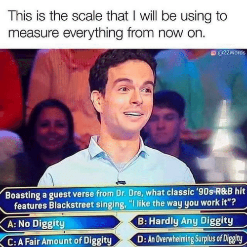 "hardly: This is the scale that I will be using to  measure everything from now on.  @22Words  Boasting a guest verse from Dr. Dre, what classic '90s R&B hit  features Blackstreet singing, ""I like the way you work it""?  B: Hardly Any Diggity  A: No Diggity  D: An Overwhelming Surplus of Diggity  C:A Fair Amount of Diggity"