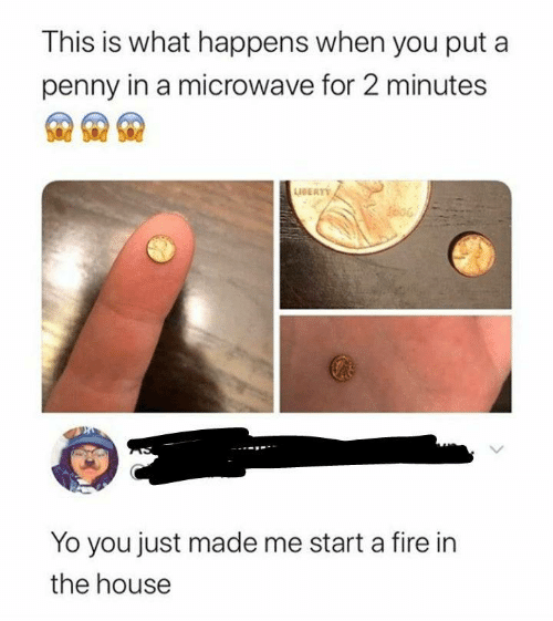 microwave: This is what happens when you put a  penny in a microwave for 2 minutes  AERT  Yo you just made me start a fire in  the house