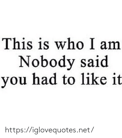 said: This is who I am  Nobody said  you had to like it https://iglovequotes.net/