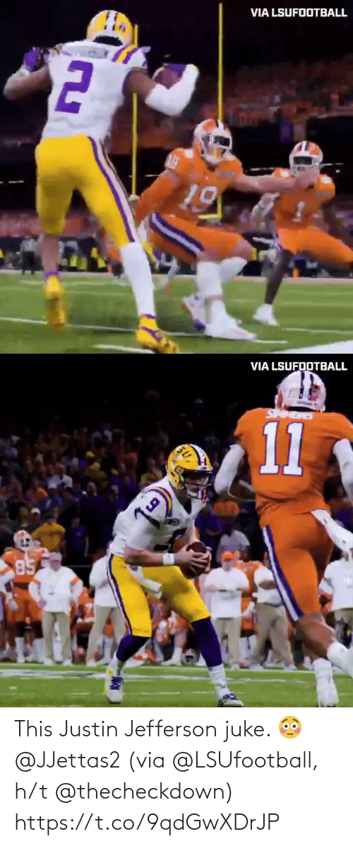 H: This Justin Jefferson juke. 😳 @JJettas2   (via @LSUfootball, h/t @thecheckdown) https://t.co/9qdGwXDrJP