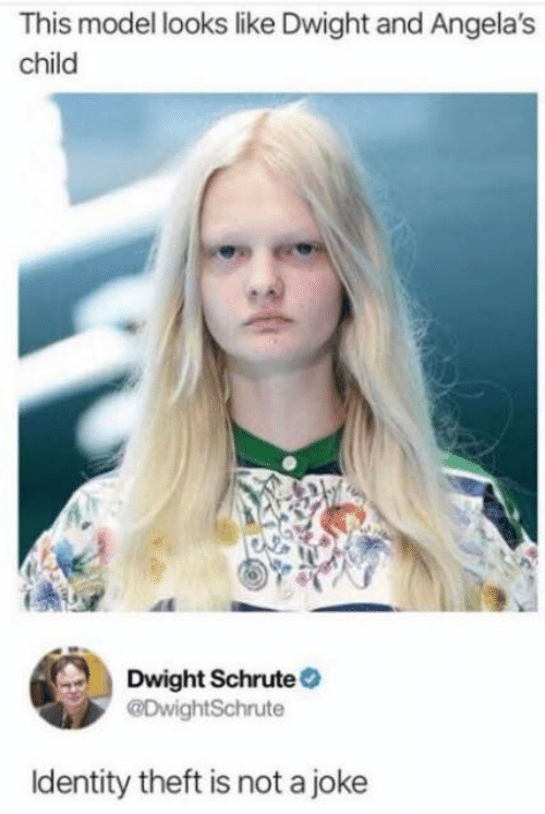 dwight: This model looks like Dwight and Angela's  child  Dwight Schrute  @DwightSchrute  Identity theft is not a joke