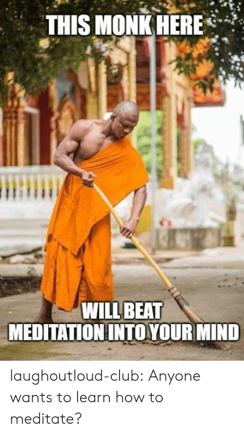 monk: THIS MONK HERE*  WILL BEAT  MEDITATION INTO YOUR MIND laughoutloud-club:  Anyone wants to learn how to meditate?