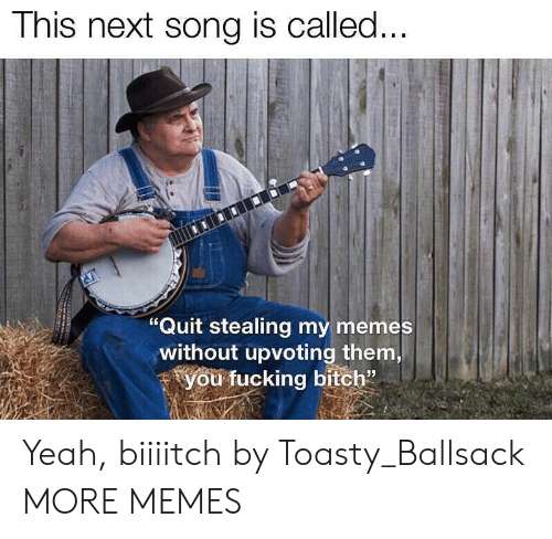 "Bitch, Dank, and Fucking: This next song is called...  ""Quit stealing my memes  without upvoting them,  you fucking bitch"" Yeah, biiiitch by Toasty_Ballsack MORE MEMES"