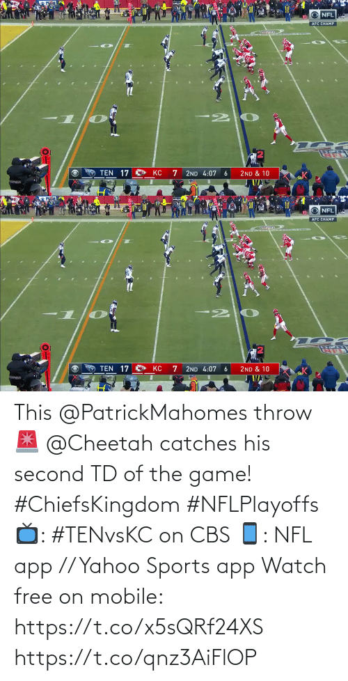 Game: This @PatrickMahomes throw 🚨  @Cheetah catches his second TD of the game! #ChiefsKingdom #NFLPlayoffs  📺: #TENvsKC on CBS 📱: NFL app // Yahoo Sports app Watch free on mobile: https://t.co/x5sQRf24XS https://t.co/qnz3AiFlOP