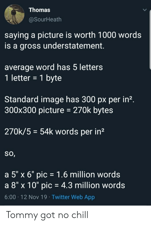 """gross: Thomas  @SourHeath  saying a picture is worth 1000 words  is a gross understatement  average word has 5 letters  1 letter = 1 byte  Standard image has 300 px per in2.  300x300 picture  270k bytes  270k/5 54k words per in2  So,  a 5"""" x 6"""" pic 1.6 million words  a 8"""" x 10"""" pic = 4.3 million words  6:00 12 Nov 19 Twitter Web App Tommy got no chill"""