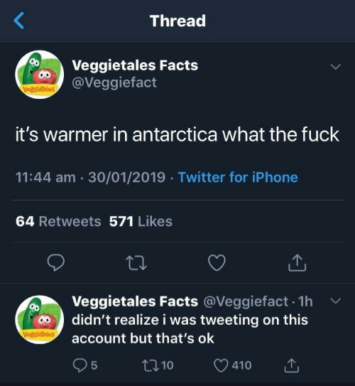 tweeting: Thread  Veggietales Facts  @Veggiefact  VegsieTales  it's warmer in antarctica what the fuck  11:44 am 30/01/2019 Twitter for iPhone  64 Retweets 571 Likes  Veggietales Facts @Veggiefact. 1h v  account but that's ok  95  didn't realize i was tweeting on this  t10  410