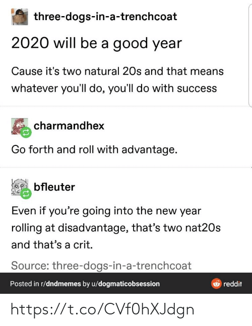 rolling: three-dogs-in-a-trenchcoat  2020 will be a good year  Cause it's two natural 20s and that means  whatever you'll do, you'll do with success  charmandhex  Go forth and roll with advantage.  bfleuter  Even if you're going into the new year  rolling at disadvantage, that's two nat20s  and that's a crit.  Source: three-dogs-in-a-trenchcoat  Posted in r/dndmemes by u/dogmaticobsession  reddit https://t.co/CVf0hXJdgn