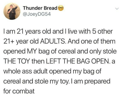 Ass, Live, and Old: Thunder Bread  @JoeyDG54  I am 21 years old and I live with 5 other  21+ year old ADULTS. And one of them  opened MY bag of cereal and only stole  THE TOY then LEFT THE BAG OPEN. a  whole ass adult opened my bag of  cereal and stole my toy. I am prepared  for combat