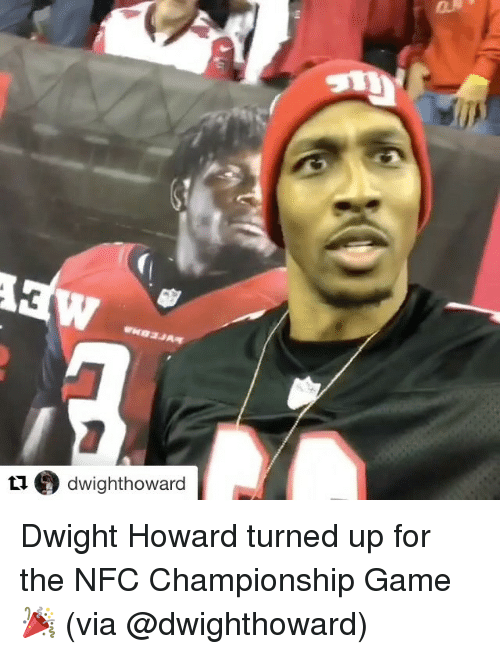 Dwight Howard, NFC Championship Game, and Sports: ti dwight howard Dwight Howard turned up for the NFC Championship Game 🎉 (via @dwighthoward)