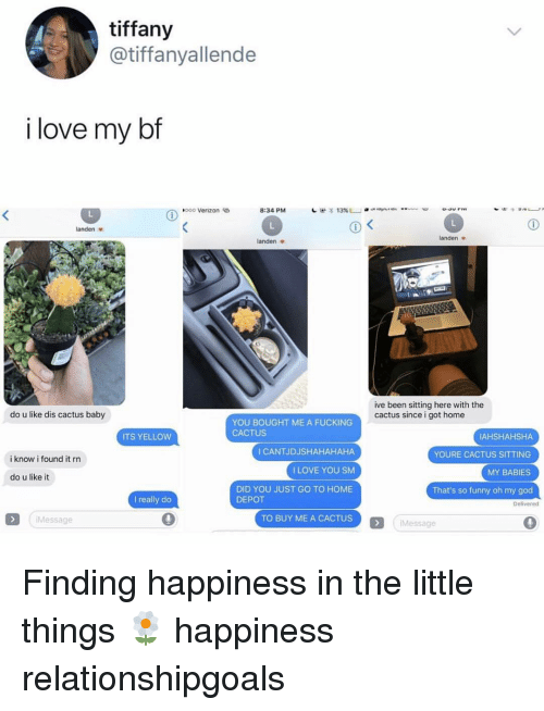 Fucking, Funny, and God: tiffany  @tiffanyallende  i love my bf  ,000 Verizon  eb  8:34 PM  1  13% L」.  landen  landen v  landen s  ive been sitting here with the  cactus since i got home  do u like dis cactus baby  YOU BOUGHT ME A FUCKING  CACTUS  AHSHAHSHA  YOURE CACTUS SITTING  MY BABIES  That's so funny oh my god  ITS YELLOW  I CANTJDJSHAHAHAHA  I LOVE YOU SM  DID YOU JUST GO TO HOME  i know i found it rr  do u like it  I really do  DEPOT  Delivered  Message  TO BUY ME A CACTUS  Message Finding happiness in the little things 🌼 happiness relationshipgoals