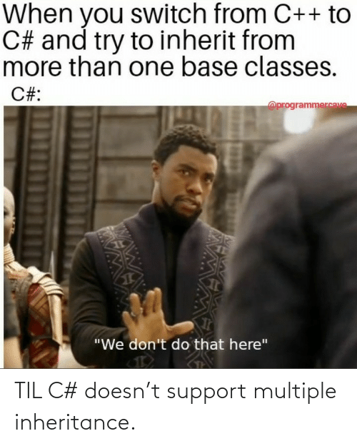 support: TIL C# doesn't support multiple inheritance.