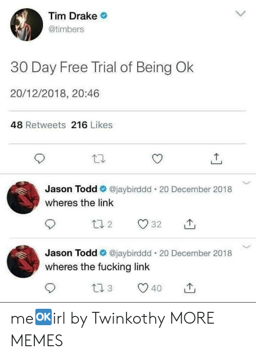 Timbers: Tim Drake  @timbers  30 Day Free Trial of Being Ok  20/12/2018, 20:46  48 Retweets 216 Likes  Jason Todd @jaybirddd. 20 December 2018  wheres the link  Jason Todd Ф @jaybirddd-20 December 2018  wheres the fucking link  40 me🆗️irl by Twinkothy MORE MEMES