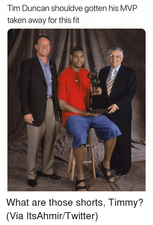 Nba, Taken, and Tim Duncan: Tim Duncan shouldve gotten his MVP  taken away for this ft What are those shorts, Timmy? (Via ‪ItsAhmir‬/Twitter)