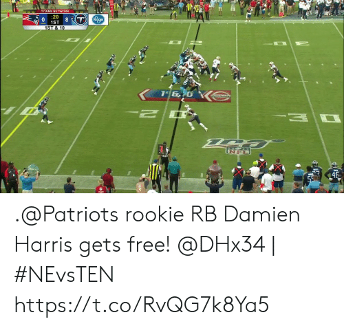 harris: TITANS NETWORK  20  8 T Kroger  1ST  1ST & 10  46  59 .@Patriots rookie RB Damien Harris gets free!  @DHx34 | #NEvsTEN https://t.co/RvQG7k8Ya5