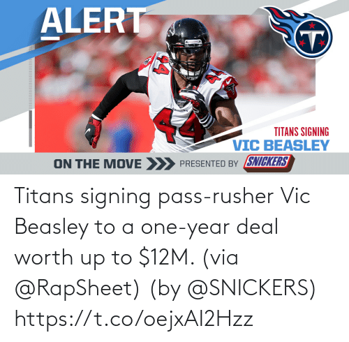via: Titans signing pass-rusher Vic Beasley to a one-year deal worth up to $12M. (via @RapSheet)  (by @SNICKERS) https://t.co/oejxAI2Hzz