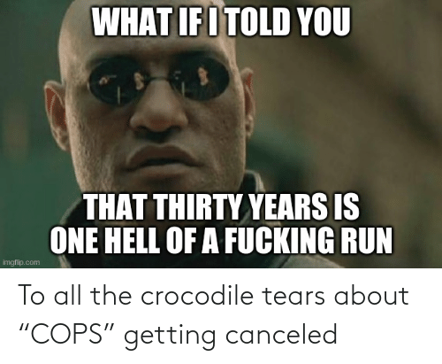 """all: To all the crocodile tears about """"COPS"""" getting canceled"""