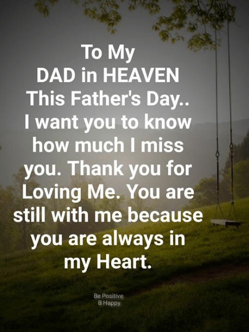 Dad, Fathers Day, and Heaven: To My  DAD in HEAVEN  This Father's Day..  want you to know  how much I miss  you. Thank you for  Loving Me. You are  still with me because  you are always in  my Heart.  Be Positive  В Нарру