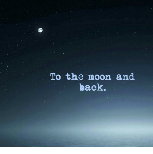 Moon, Back, and The Moon: To the moon and  back.