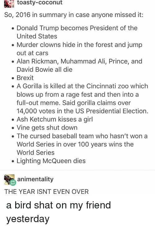 Shatted: toasty-Coconut  So, 2016 in summary in case anyone missed it:  Donald Trump becomes President of the  United States  Murder clowns hide in the forest and jump  out at cars  Alan Rickman, Muhammad Ali, Prince, and  David Bowie all die  Brexit  A Gorilla is killed at the Cincinnati zoo which  blows up from a rage fest and then into a  full-out meme. Said gorilla claims over  14,000 votes in the US Presidential Election.  Ash Ketchum kisses a girl  Vine gets shut down  The cursed baseball team who hasn't won a  World Series in over 100 years wins the  World Series  Lighting McQueen dies  animentality  THE YEAR ISNT EVEN OVER a bird shat on my friend yesterday