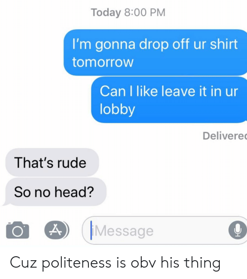Head, Relationships, and Rude: Today 8:00 PM  I'm gonna drop off ur shirt  tomorroW  Can I like leave it in ur  lobby  Delivere  That's rude  So no head?  O O) IMessage  O Cuz politeness is obv his thing