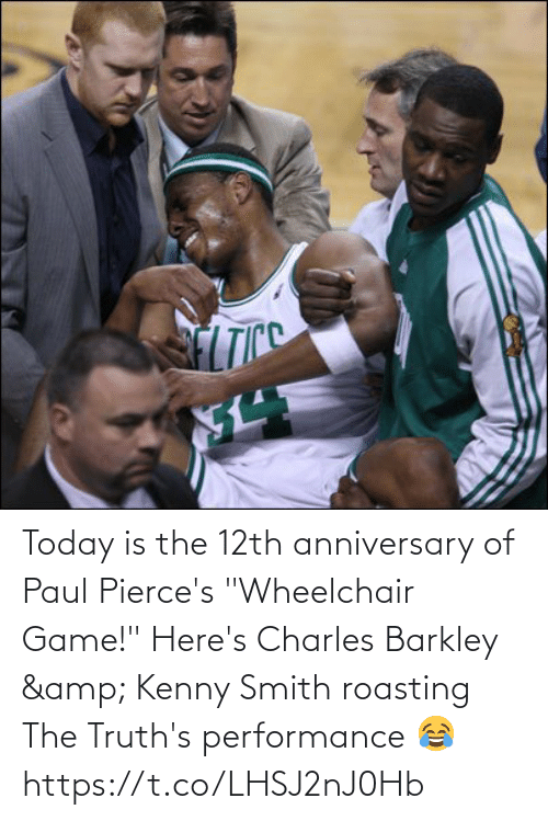"""Smith: Today is the 12th anniversary of Paul Pierce's """"Wheelchair Game!""""   Here's Charles Barkley & Kenny Smith roasting The Truth's performance 😂   https://t.co/LHSJ2nJ0Hb"""