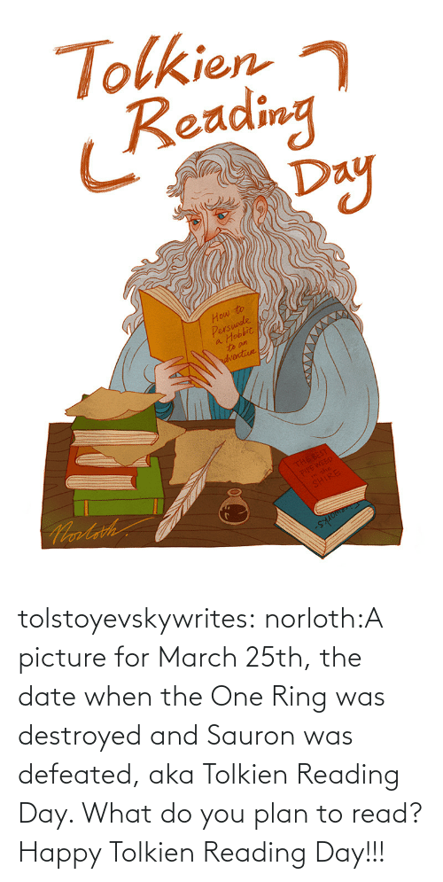 Plan: tolstoyevskywrites:  norloth:A picture for March 25th, the date when the One Ring was destroyed and Sauron was defeated, aka Tolkien Reading Day. What do you plan to read? Happy Tolkien Reading Day!!!