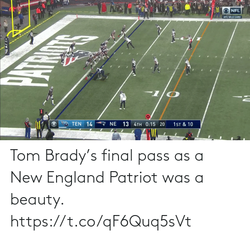 sports: Tom Brady's final pass as a New England Patriot was a beauty.  https://t.co/qF6Quq5sVt