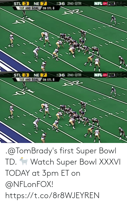 Super Bowl: .@TomBrady's first Super Bowl TD. 🐐  Watch Super Bowl XXXVI TODAY at 3pm ET on @NFLonFOX! https://t.co/8r8WJEYREN