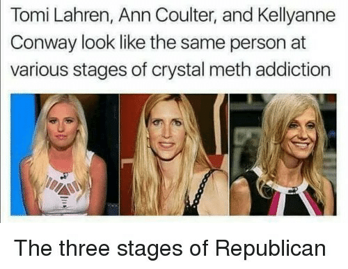 Conway: Tomi Lahren, Ann Coulter, and Kellyanne  Conway look like the same person at  various stages of crystal meth addiction  The three stages of Republicarn