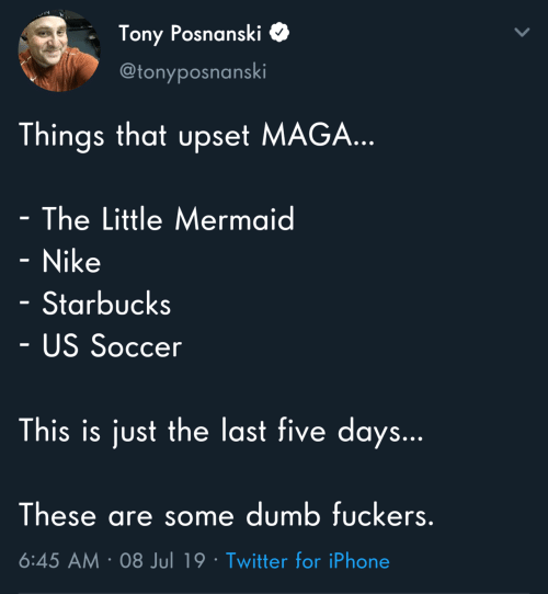 Fuckers: Tony Posnanski  @tonyposnanski  Things that upset MAGA...  - The Little Mermaid  - Nike  Starbucks  - US Soccer  This is just the last five days...  These are some dumb fuckers.  6:45 AM 08 Jul 19 Twitter for iPhone